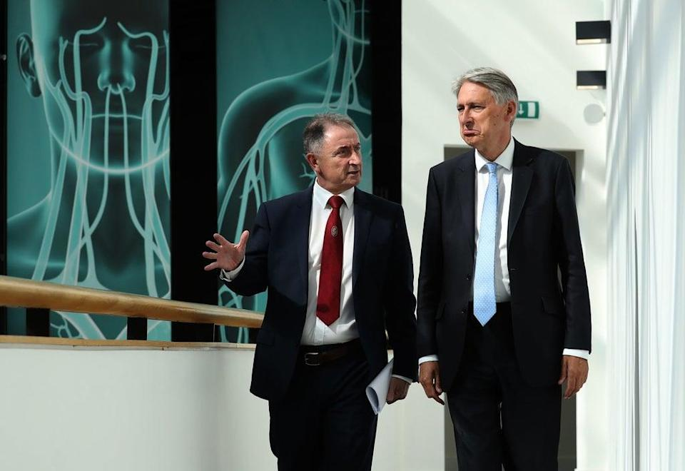 University of Strathclyde pricipal Professor Sir Jim McDonald (left) with former chancellor Philip Hammond (Andrew Milligan/PA) (PA Archive)