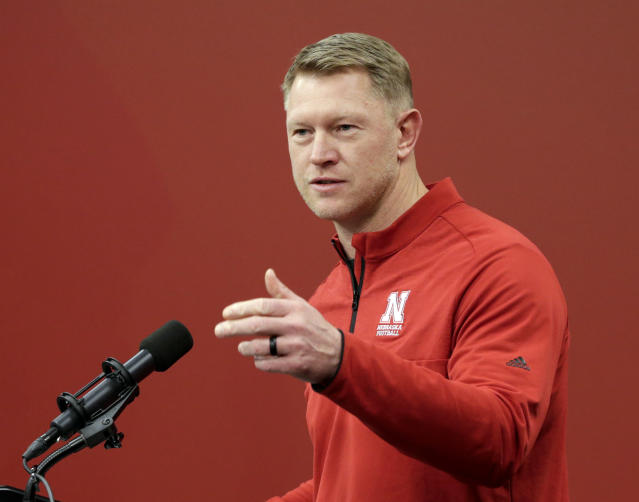 Nebraska coach Scott Frost speaks to journalists during an NCAA college football signing day news conference in Lincoln, Neb., Wednesday, Feb. 7, 2018. (AP Photo/Nati Harnik)