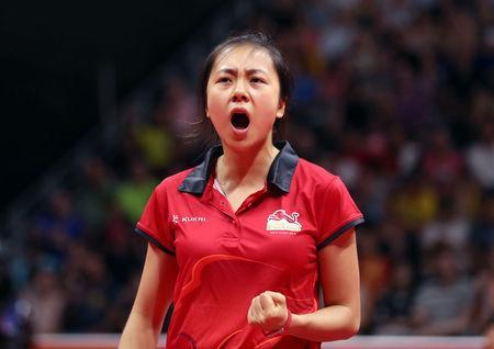 Table Tennis - Gold Coast 2018 Commonwealth Games - Women's Team Bronze Medal Match - Oxenford Studios - Gold Coast, Australia - April 8, 2018 - Tin-Tin Ho of England celebrates winning a match. REUTERS/Jeremy Lee