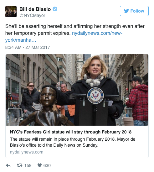 """The """"Fearless Girl"""" Statue Will Stay on Wall Street Until 2018"""
