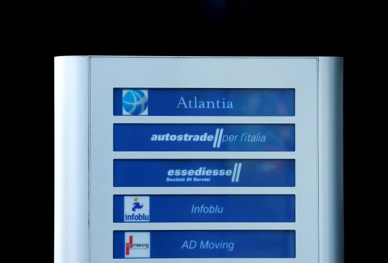 FILE PHOTO: Logos of Autostrade per l'Italia's and Atlantia Group are seen at the toll-road operator Autostrade per l'Italia's headquarters in Rome