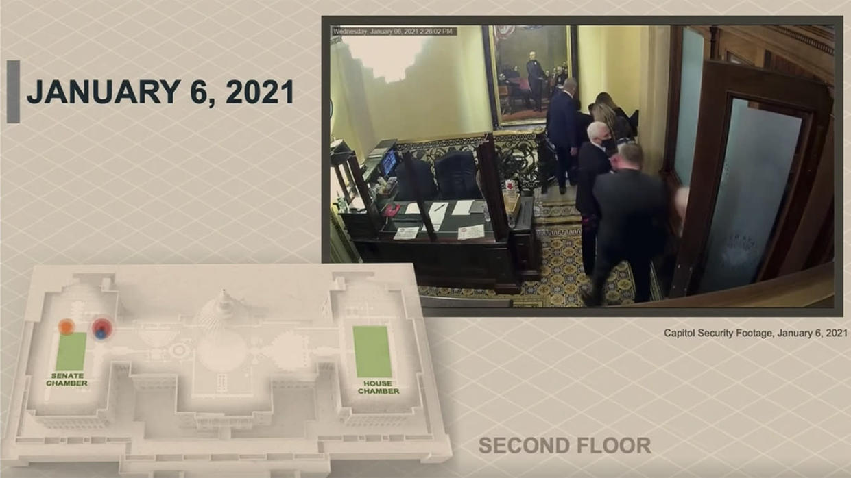 Vice President Mike Pence is evacuated from his Senate office during the Jan. 6 attack at the U.S. Capitol. (via Reuters)