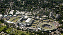 An aerial view shows the Wimbledon tennis championships in London June 27, 2011. REUTERS/Tom Lovelock/AELTC/Pool