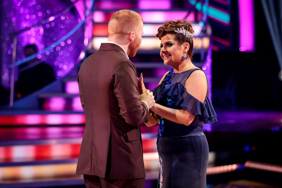 WARNING: Embargoed for publication until 20:00:01 on 03/10/2021 - Programme Name: Strictly Come Dancing 2021 - TX: 03/10/2021 - Episode: Strictly Come Dancing - TX2 RESULTS SHOW (No. n/a) - Picture Shows: *NOT FOR PUBLICATION UNTIL 20:00hrs, SUNDAY 3RD OCTBER, 2021* Neil Jones, Nina Wadia - (C) BBC - Photographer: Guy Levy