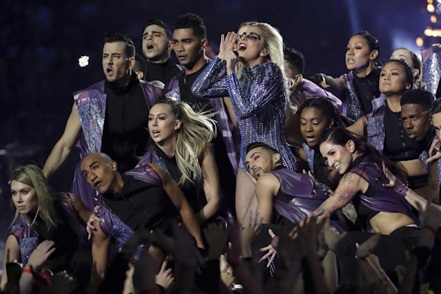 <p>Singer Lady Gaga performs during the halftime show of the NFL Super Bowl 51 football game between the New England Patriots and the Atlanta Falcons, Sunday, Feb. 5, 2017, in Houston. (AP Photo/Patrick Semansky) </p>