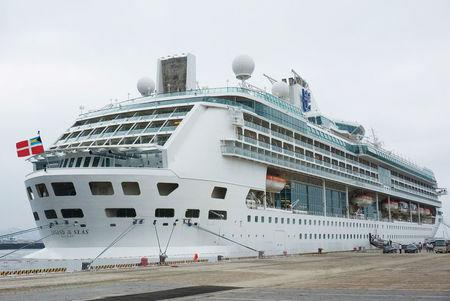 A Royal Caribbean cruise is seen at a port in Dalian
