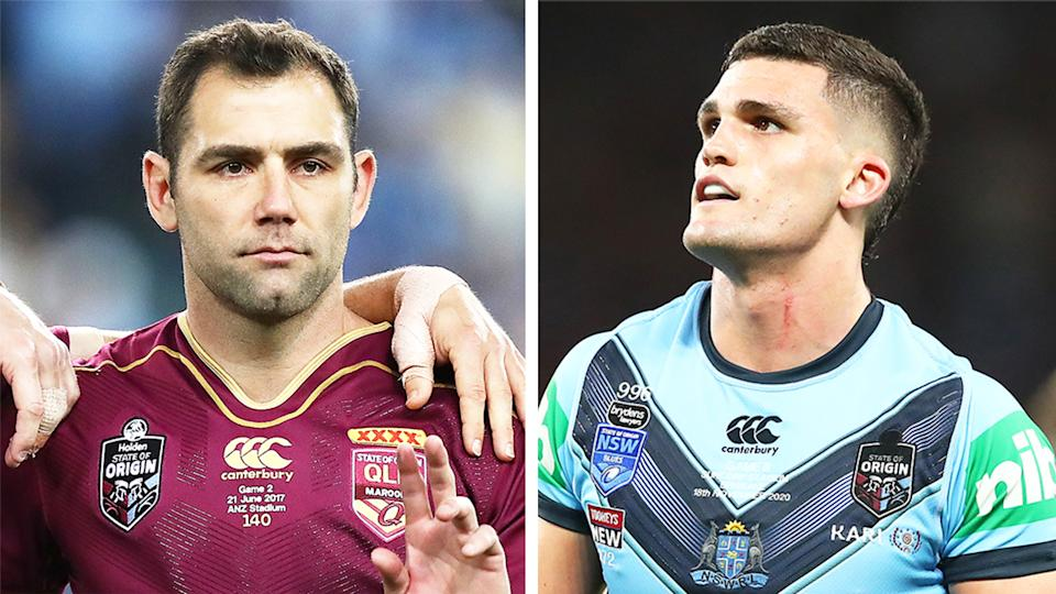 Cameron Smith (pictured left) during state of Origin and Nathan Cleary (pictured right) during a game.