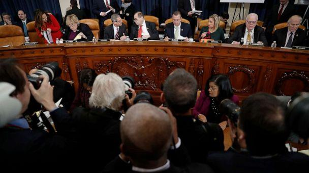 PHOTO: Members of the committee arrive before a House Judiciary Committee markup of the articles of impeachment against President Donald Trump, Dec. 12, 2019, on Capitol Hill in Washington, D.C. (Andrew Harnik/AP)
