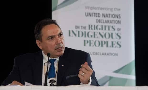 Assembly of First Nations Chief Perry Bellegarde speaks during an announcement about the United Nations Declaration on the Rights of Indigenous Peoples, in Ottawa, Thursday, Dec. 3, 2020. The Liberal government introduced its long-awaited response to the MMIWG inquiry's final report today.