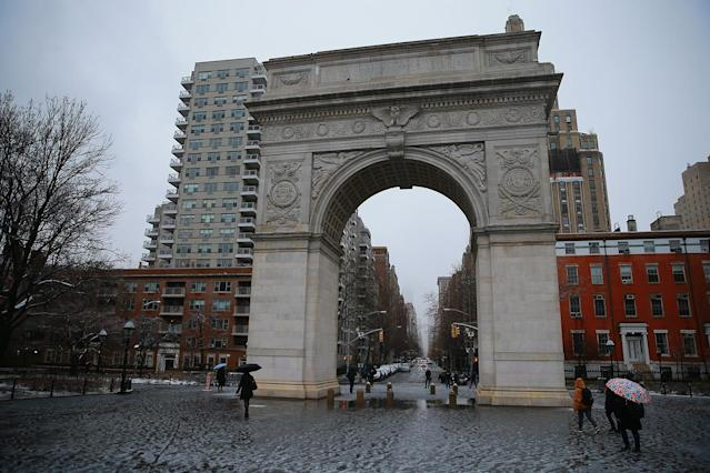 <p>The scene in Washington Square Park in New York City as snow turns to rain before the second storm in week hits the northeast on March 7, 2018. (Photo: Gordon Donovan/Yahoo News) </p>