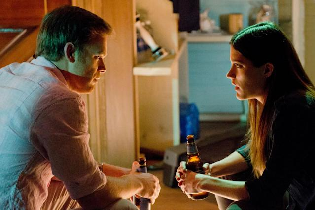 "Michael C. Hall as Dexter Morgan and Jennifer Carpenter as Debra Morgan in the ""Dexter"" Season 8 episode, ""Goodbye Miami."""