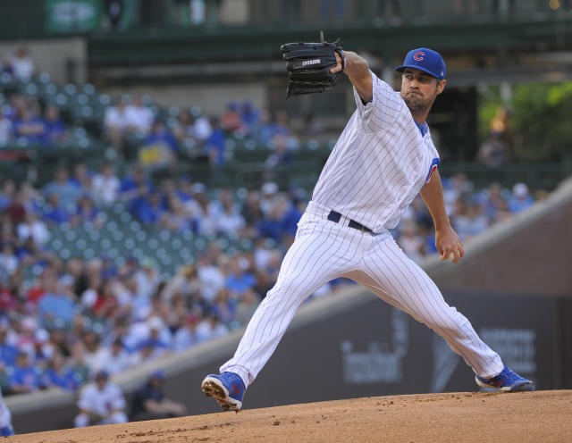 Chicago Cubs starting pitcher Cole Hamels throws to a Philadelphia Phillies batter during the first inning of a baseball game Wednesday, May 22, 2019, in Chicago. (AP Photo/Mark Black)