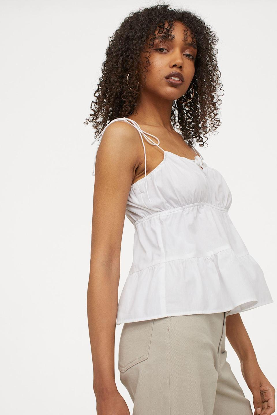 <p>Show off your shoulders (and be sure to apply sunscreen) when you wear this <span>Tie-detail Top</span> ($13) outside.</p>