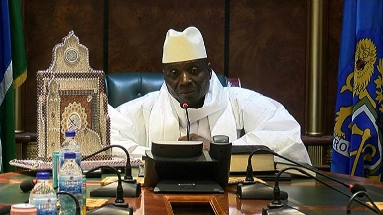 An image grab taken on December 3, 2016 from a video of the Gambia and Television Services (GRTS) broadcasted on December 2, 2016, in Banjul shows outgoing Gambian President Yahya Jammeh speaking during a press conference after being defeated during the presidential election