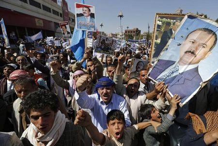 Supporters of Yemen's former President Saleh demonstrate during a show of support in Sanaa