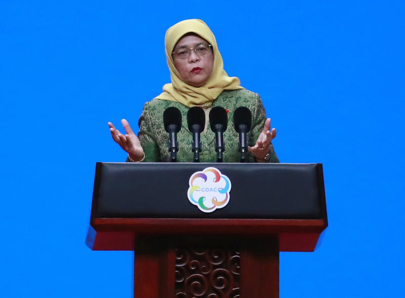 President Halimah Yacob delivers a speech during the opening ceremony of the Conference on Dialogue of Asian Civilizations in Beijing, on 15 May, 2019. (AP file photo)