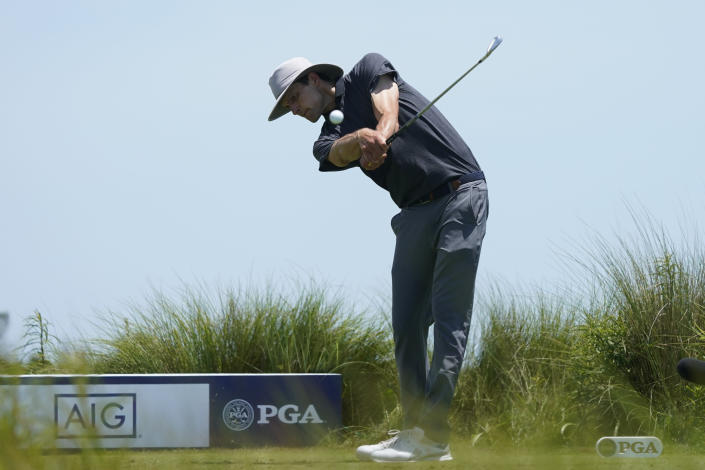 Brad Marek hits off the fifth tee during the third round at the PGA Championship golf tournament on the Ocean Course, Saturday, May 22, 2021, in Kiawah Island, S.C. (AP Photo/Matt York)