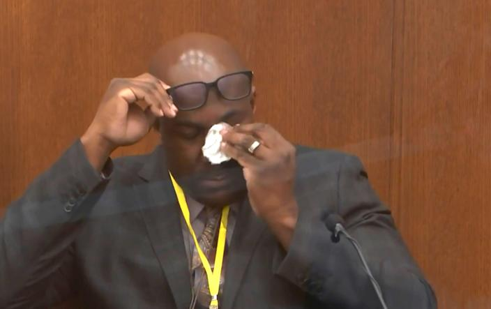 In this image from video, Philonise Floyd, brother of George Floyd, becomes emotional as he testifies Monday in the murder trial of former Minneapolis police officer Derek Chauvin.