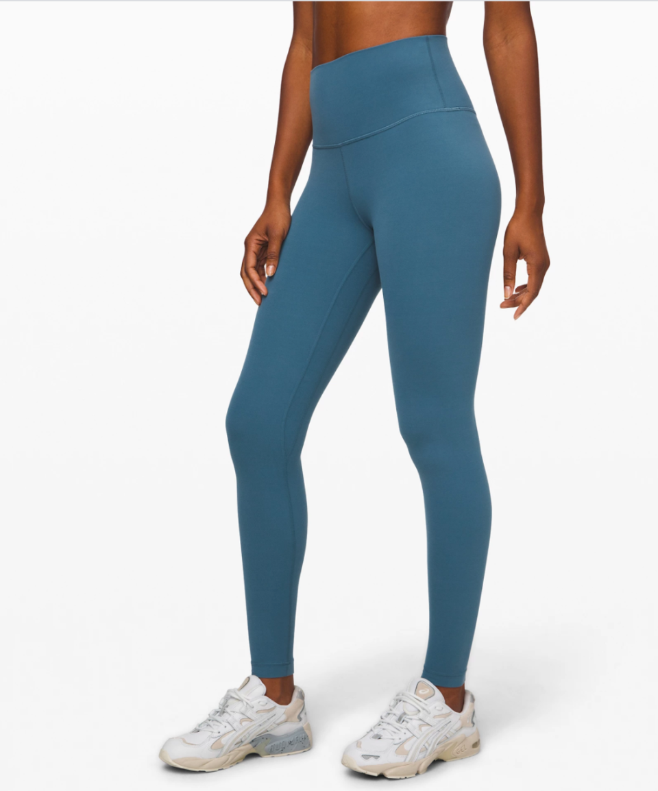 """<p><strong>Lululemon</strong></p><p>lululemon.com</p><p><a href=""""https://go.redirectingat.com?id=74968X1596630&url=https%3A%2F%2Fshop.lululemon.com%2Fp%2Fwomen-pants%2FAlign-Pant-Full-Length-28-MD%2F_%2Fprod8840324&sref=https%3A%2F%2Fwww.marieclaire.com%2Ffashion%2Fg33262976%2Flululemon-warehouse-sale-july-2020%2F"""" rel=""""nofollow noopener"""" target=""""_blank"""" data-ylk=""""slk:SHOP IT"""" class=""""link rapid-noclick-resp"""">SHOP IT </a></p><p><del>$98</del><strong><br>$79</strong></p><p>You can never have too many pairs of leggings. With a buttery soft fabric and four-way stretch, this style is perfect for your next virtual yoga class. (Or lounging in front of the TV if that's more your speed these days.) </p>"""