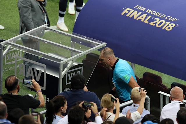 VAR in use during the 2018 FIFA World Cup Final between France and Croatia at Luzhniki Stadium on July 15, 2018 in Moscow, Russia.