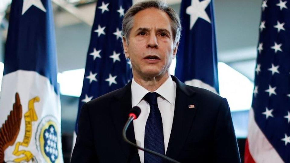 Antony Blinken addresses a welcome ceremony after arriving at the State Department in Washington DC. Photo: 27 January 2021