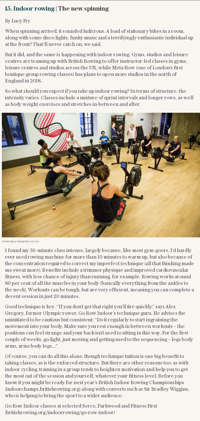 15. Indoor rowing | The new spinning