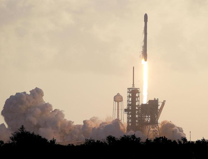 <p>A Falcon 9 SpaceX rocket carrying a classified satellite for the National Reconnaissance Office lifts off from pad 39A at the Kennedy Space Center in Cape Canaveral, Fla., Monday, May 1, 2017. (AP Photo/John Raoux) </p>