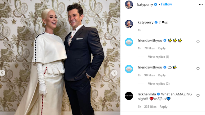 Screengrab of Katy Perry and Orlando Bloom from Perry's Instagram account
