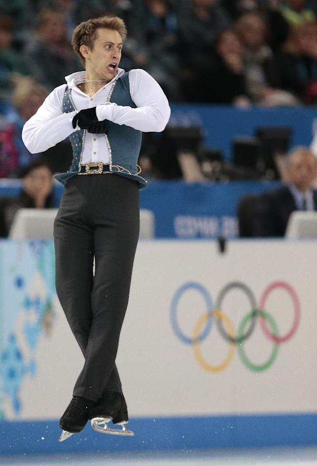 Michal Brezina of the Czech Republic competes in the men's free skate figure skating final at the Iceberg Skating Palace during the 2014 Winter Olympics, Friday, Feb. 14, 2014, in Sochi, Russia. (AP Photo/Ivan Sekretarev)