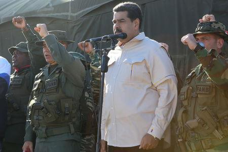 Venezuela's President Nicolas Maduro attends a military exercise in Charallave