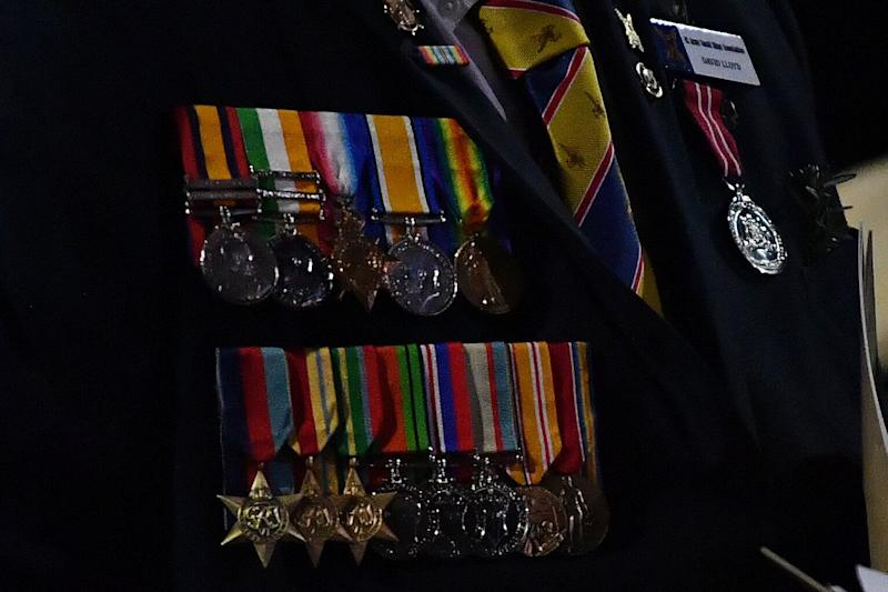 Medals worn by a veteran are seen during the Anzac Day Dawn Service at The Cenotaph in Sydney. Source: AAP