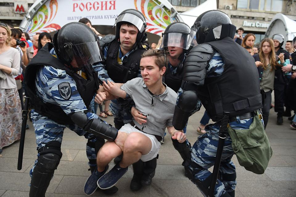 Over 200 people were detained on June 12, 2017 by police at opposition protests called by Kremlin critic Alexei Navalny, said a Russian NGO tracking arrests.
