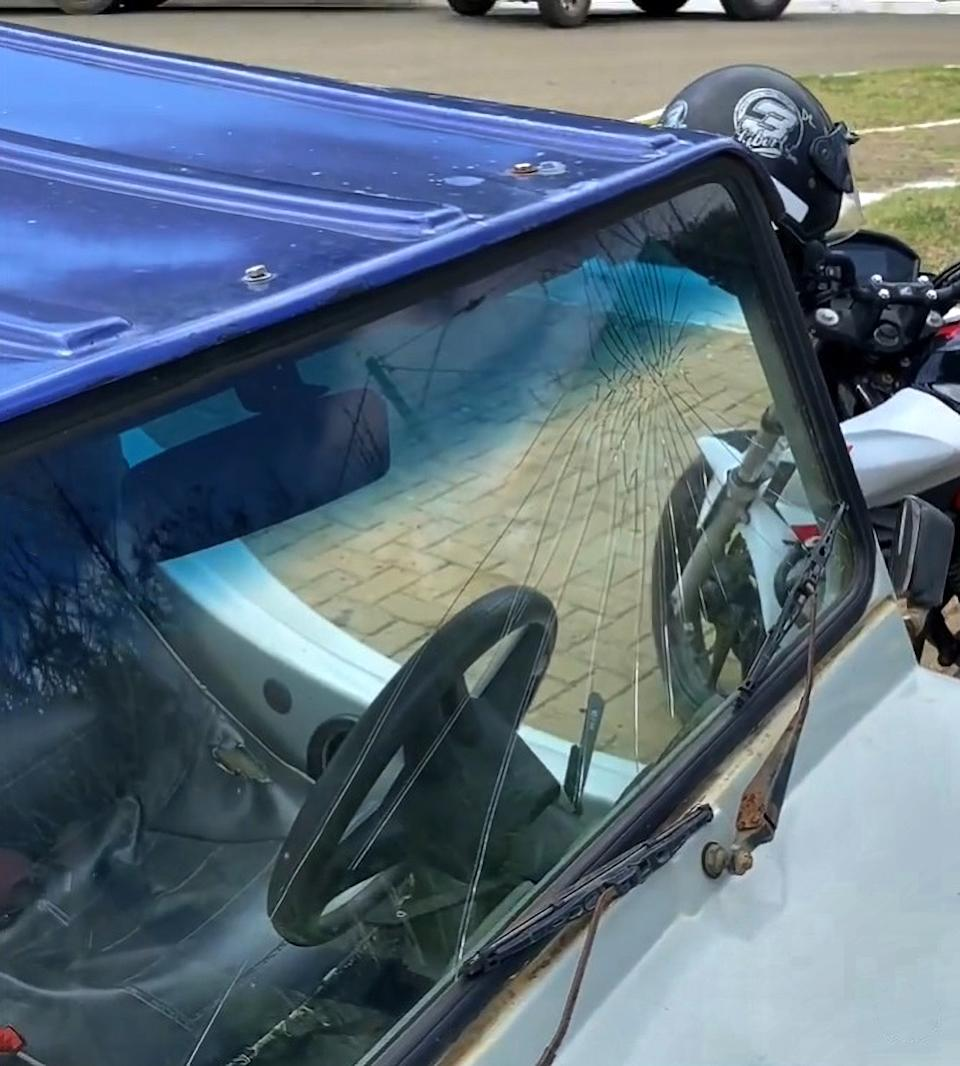 Pictured is the broken windscreen of a buggy the family was using at the Brazilian beach.