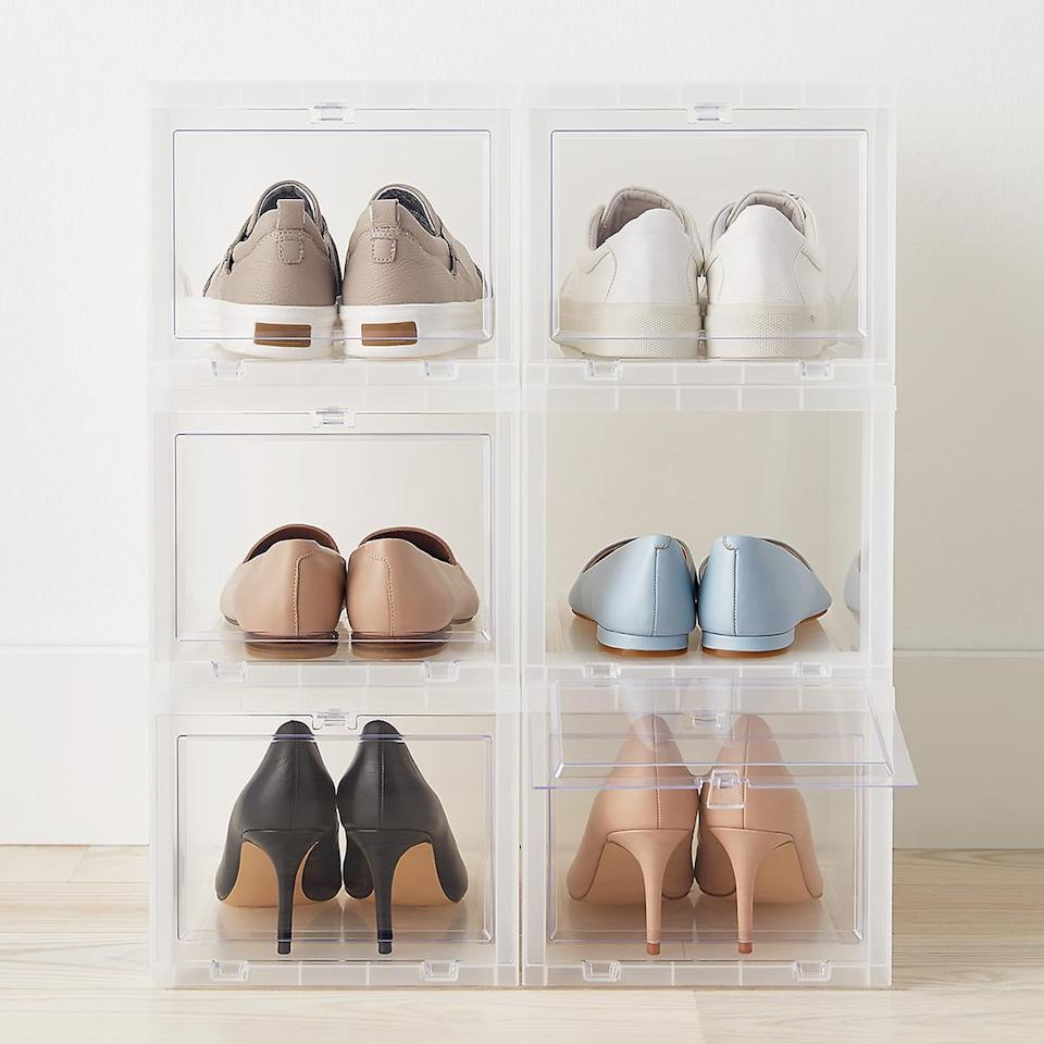 """<p>This <a href=""""https://www.popsugar.com/buy/Small-Drop-Front-Shoe-Box-Case-6-487849?p_name=Small%20Drop-Front%20Shoe%20Box%20Case%20of%206&retailer=containerstore.com&pid=487849&price=45&evar1=casa%3Aus&evar9=46423680&evar98=https%3A%2F%2Fwww.popsugar.com%2Fhome%2Fphoto-gallery%2F46423680%2Fimage%2F47320848%2FSmall-Drop-Front-Shoe-Box-Case-6&list1=shopping%2Corganization%2Csmall%20space%20living%2Chome%20organization&prop13=api&pdata=1"""" rel=""""nofollow"""" data-shoppable-link=""""1"""" target=""""_blank"""" class=""""ga-track"""" data-ga-category=""""Related"""" data-ga-label=""""https://www.containerstore.com/s/closet/shoe-storage/small-drop-front-shoe-box-case-of-6/12d?productId=11008453"""" data-ga-action=""""In-Line Links"""">Small Drop-Front Shoe Box Case of 6</a> ($45, originally $48) is the perfect place to keep your favorite pairs safe.</p>"""