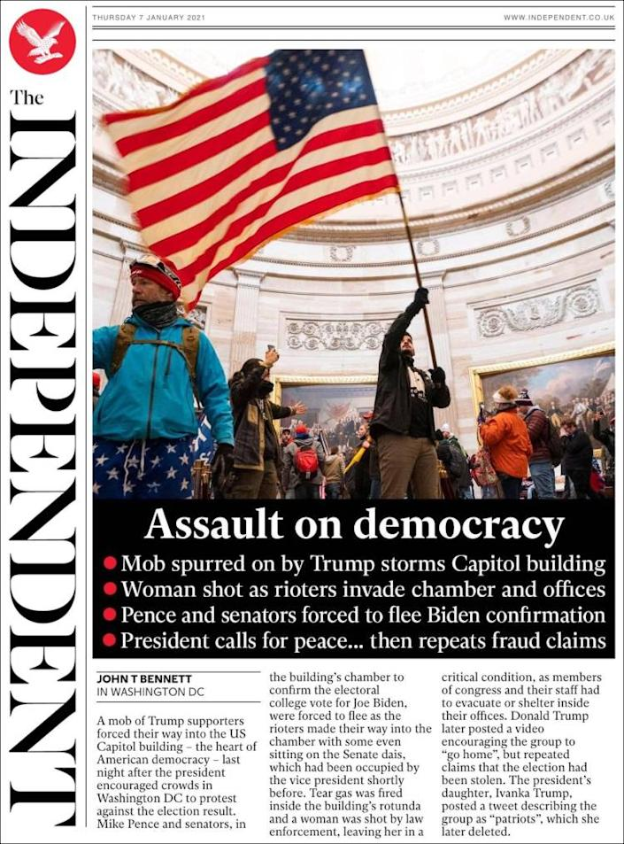 Front page of the Independent on Thursday