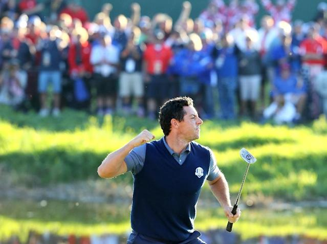 Rory McIlroy of Team Europe reacts on the 16th green after making a putt to win the match during afternoon four-ball matches of the 2016 Ryder Cup, at Hazeltine National Golf Club in Chaska, Minnesota, on September 30 (AFP Photo/Andrew Redington)