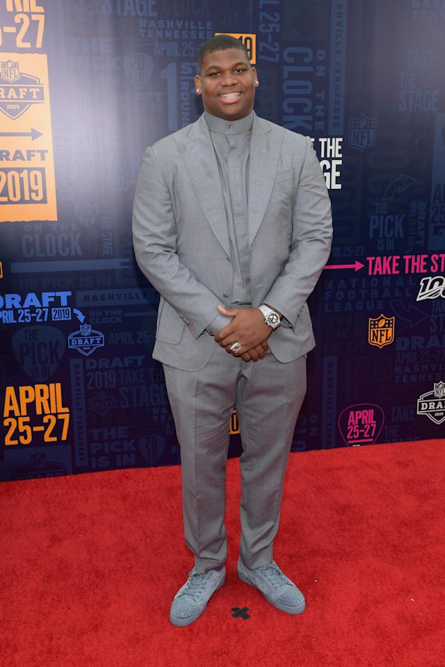 Football player Quinnen Williams attends the 2019 NFL Draft on April 25, 2019 in Nashville, Tennessee. (Photo by Jason Kempin/Getty Images)