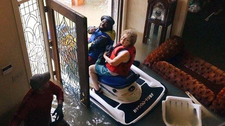 Heroes On Jet Skis Rescue Trapped Elderly Couple From Texas Floods