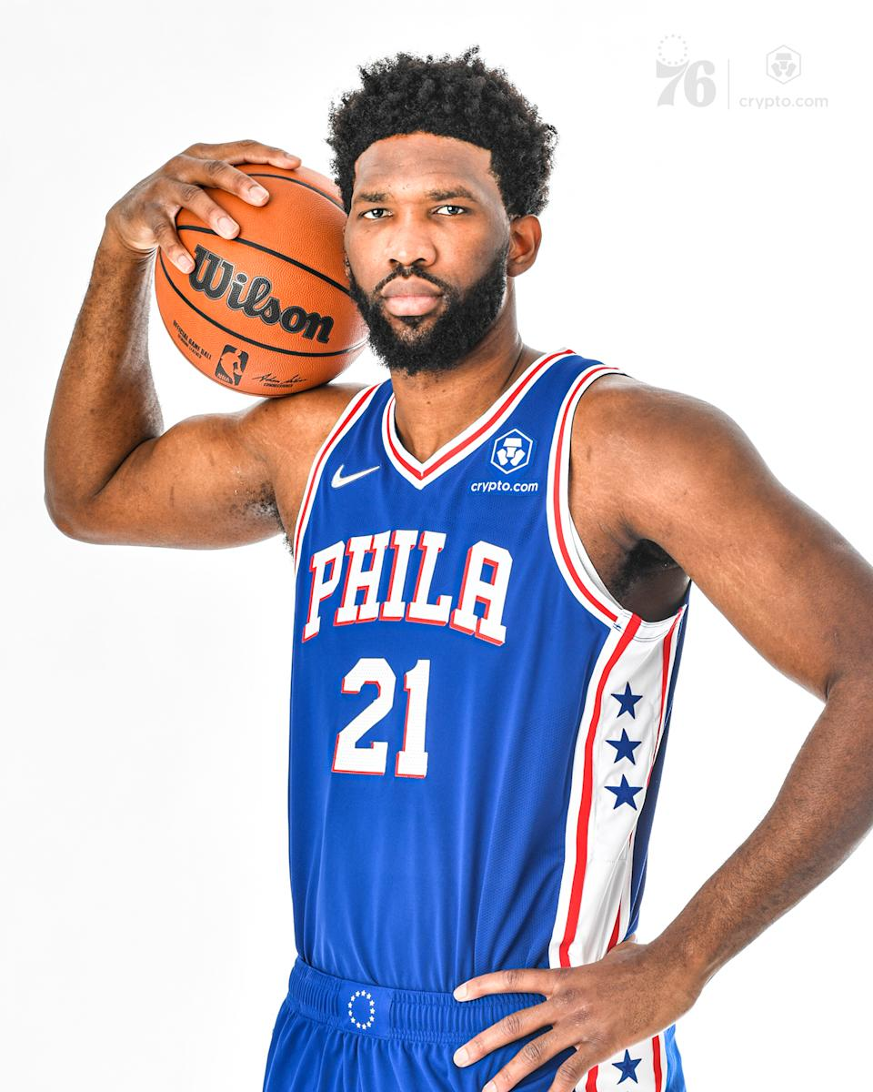 Joel Embid of the Philadelphia 76ers models the new Crypto.com patch. (Courtesy of the 76ers)