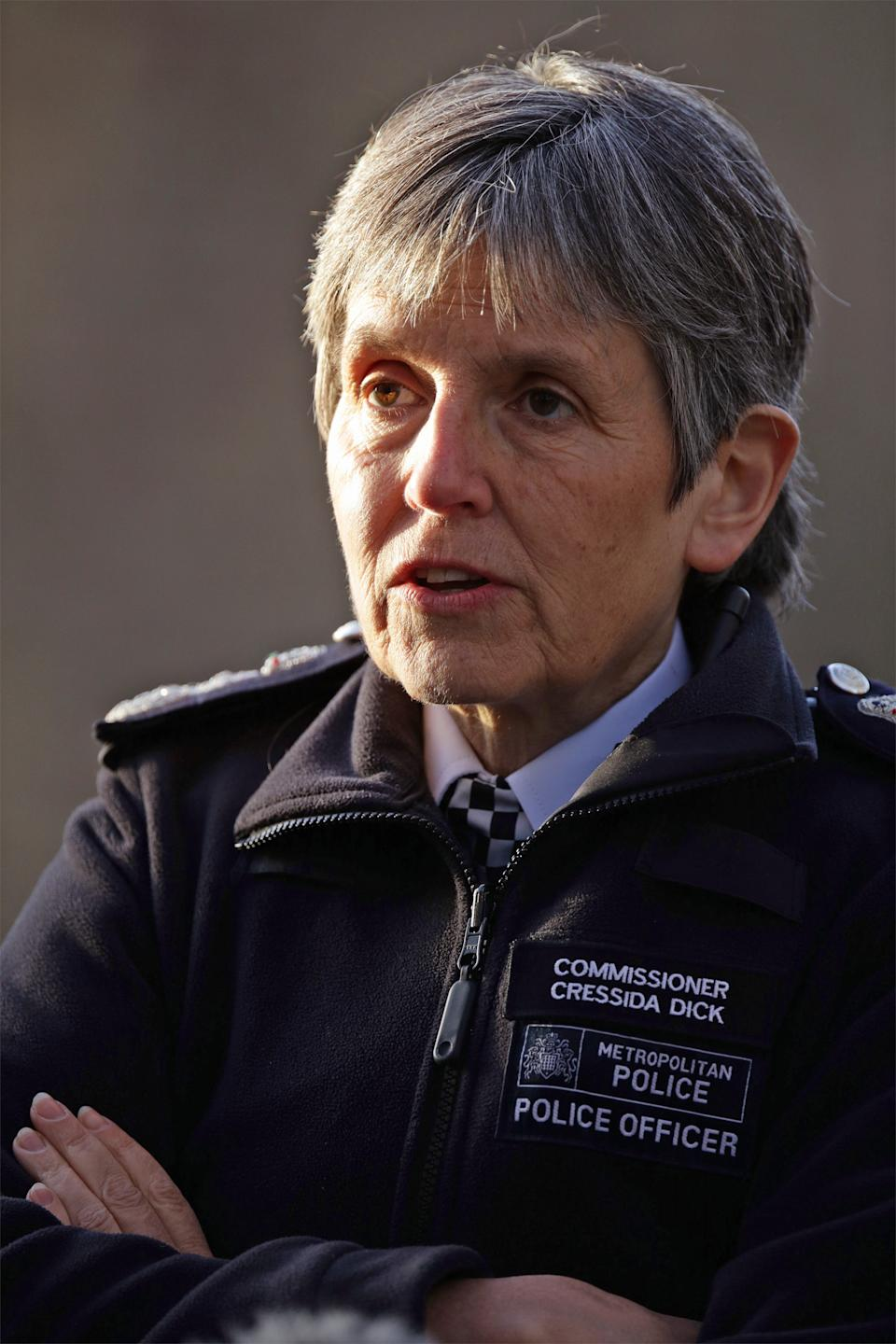 Metropolitan Police Commissioner Cressida Dick attending a raid at an address in Islington, in north London, by the Metropolitan Police flying squad, investigating a high value jewellery burglary. (Photo by Yui Mok/PA Images via Getty Images)