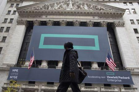 Signs for Hewlett Packard Enterprise Co., cover the facade of the New York Stock Exchange November 2, 2015. REUTERS/Brendan McDermid