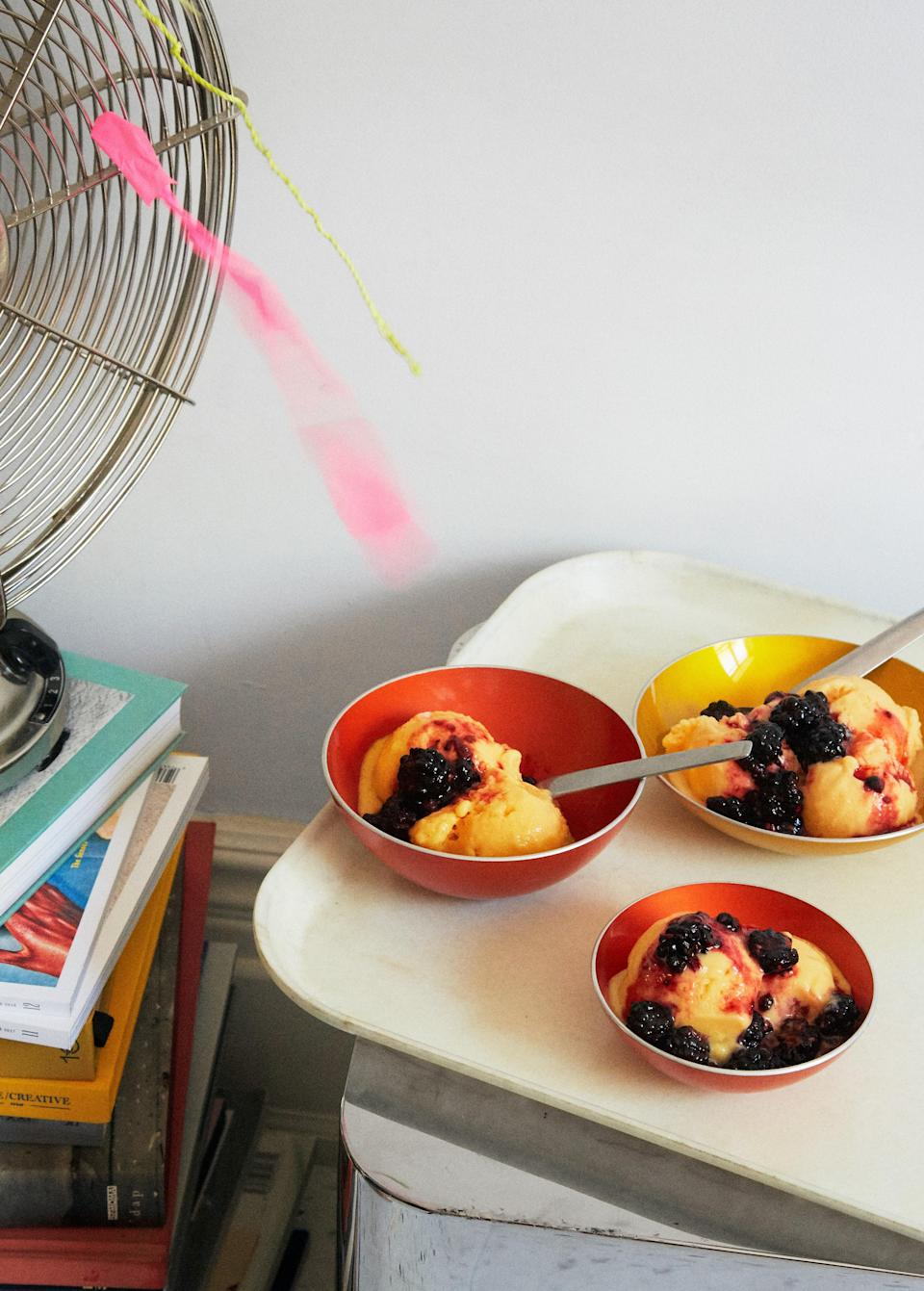 "The splash of vodka we add to this fruity sorbet recipe is the key to a smooth frozen treat: The alcohol helps prevent big ice crystals from forming, making the sorbet easier to scoop out of the loaf pan. Just don't add more than a couple of tablespoons—too much alcohol will cause the sorbet to melt faster. This recipe is part of the 2020 Healthyish Farmers Market Challenge. Get all 8 recipes <a href=""https://bonappetit.com/collection/healthyish-farmers-market-challenge-2020"" rel=""nofollow noopener"" target=""_blank"" data-ylk=""slk:here"" class=""link rapid-noclick-resp""><strong>here</strong></a>. <a href=""https://www.bonappetit.com/recipe/peach-sorbet-with-crushed-blackberries?mbid=synd_yahoo_rss"" rel=""nofollow noopener"" target=""_blank"" data-ylk=""slk:See recipe."" class=""link rapid-noclick-resp"">See recipe.</a>"
