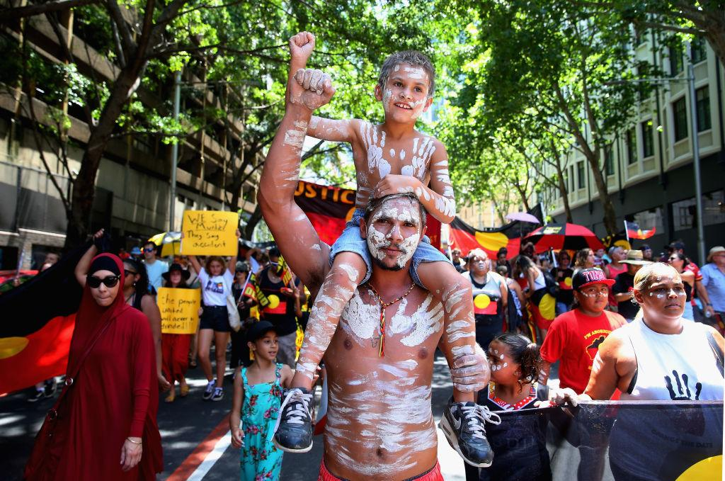 <p>People march down Elizabeth Street as part of an 'Invasion Day' march on Jan. 26, 2019 in Sydney, Australia. Australia Day, formerly known as Foundation Day, is the official national day of Australia and is celebrated annually on Jan. 26 to commemorate the arrival of the First Fleet to Sydney in 1788. Indigenous Australians refer to the day as 'Invasion Day' and there is growing support to change the date to one which can be celebrated by all Australians. (Photo from Don Arnold/Getty Images) </p>
