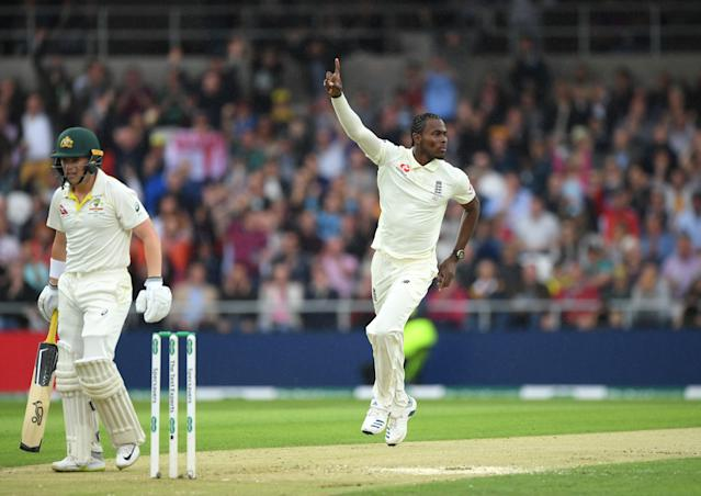 Australia opener Marcus Harris is dismissed by Jofra Archer. (Photo by Stu Forster/Getty Images)