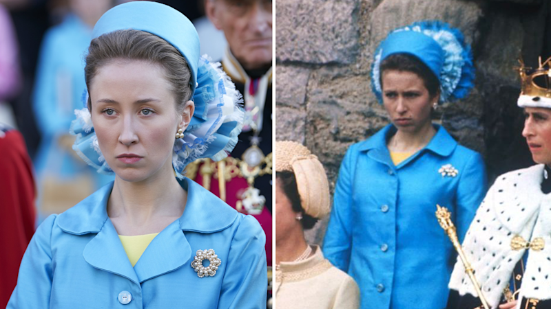 Actress Erin Doherty's as Princess Anne at her brother's Prince of Wales Investiture in The Crown. Also pictured is the real Princess Anne in 1969.
