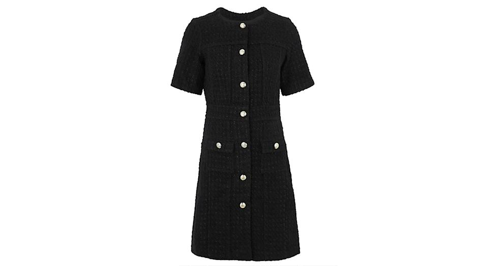Tweed Button Front Mini Waisted Dress
