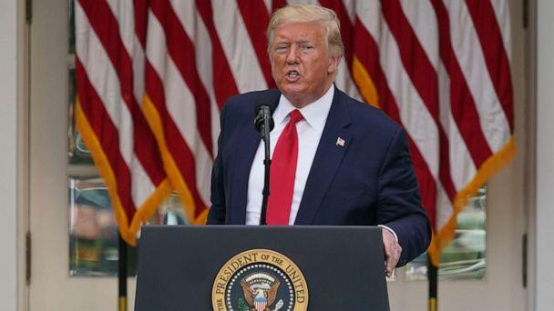 PHOTO: President Donald Trump answers questions from reporters during an event on protecting seniors with diabetes in the Rose Garden White House in Washington, May 26, 2020. (Evan Vucci/AP, FILE)