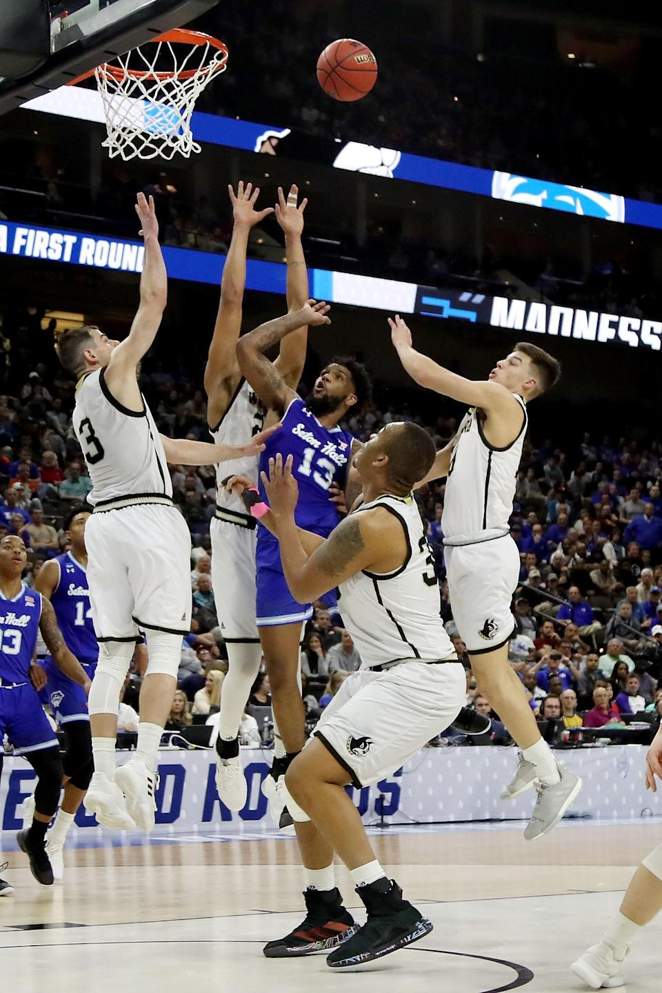 <p>Myles Powell #13 of the Seton Hall Pirates attempts a shot in the first half against the Wofford Terriers during the first round of the 2019 NCAA Men's Basketball Tournament at Jacksonville Veterans Memorial Arena on March 21, 2019 in Jacksonville, Florida. </p>