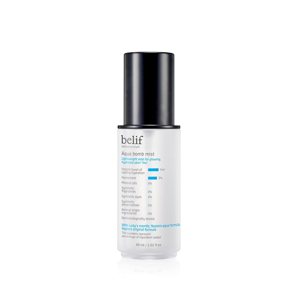"""<p>You know that super-popular K-beauty moisturizer that kept selling out when it came to Sephora originally? Well, now it's a face mist. Whether you use the original or gel Aqua Bomb moisturizer, spritz this on beforehand for an extra dose of hydration for your skin.</p> <p>$34 (<a rel=""""nofollow noopener"""" href=""""https://shop-links.co/1649560118208725092"""" target=""""_blank"""" data-ylk=""""slk:Shop Now"""" class=""""link rapid-noclick-resp"""">Shop Now</a>)</p>"""
