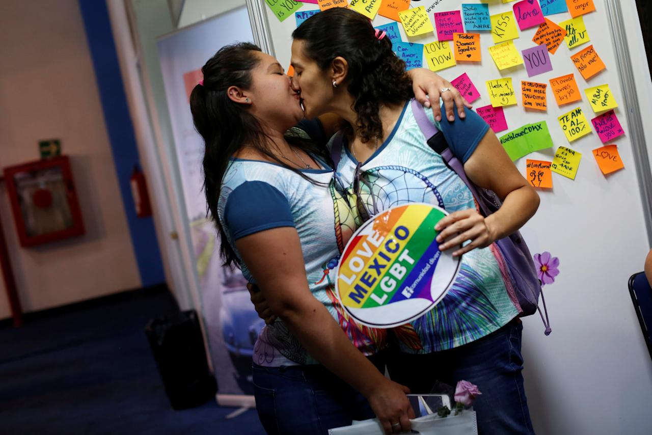 A female couple kiss during the Gay marriage exhibition in Mexico City, Mexico May 28, 2017.  REUTERS/Carlos Jasso